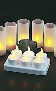 6 giallo pc caldo LED ricaricabile senza fiamma candele luce del tè