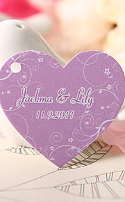 Personalized Heart Shaped Favor Tag - Purple Litter Flowers (Set of 60)