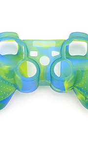 PS3コントローラ(青と緑)の保護デュアルカラーシリコンケース
