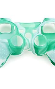suojaava naamiointi tyyli silikonisuoja ps3 ohjain (vihreä ja valkoinen)