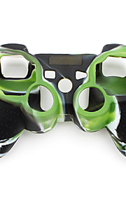 Naamiointikuvioinen silikoni suojakuori PS3 ohjaimelle (vihreä ja musta)