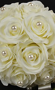 Fleurs de mariage Rond Roses Bouquets Mariage Ivoire Satin / Coton Ivoire Env.22cm