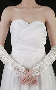 satin bout des doigts des gants coude longueur de mariée avec fronces (plus de couleurs)