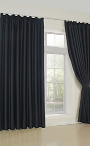 Blackout Classic Solid Black Curtain (Two Panels)