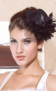 Coiffes belle satin noir avec les fascinators de fleurs femmes
