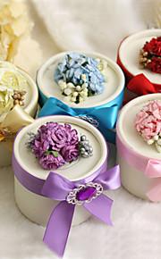 boîtes de faveur rondes avec des fleurs et de ruban - Lot de 12 (plus de couleurs)