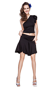 Latin Dance Outfits Women's Training Polyester Ruffles Black Latin Dance Spring, Fall, Winter, Summer Sleeveless Natural
