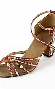 Non Customizable Women's Dance Shoes Latin/Ballroom Satin Flared Heel Brown