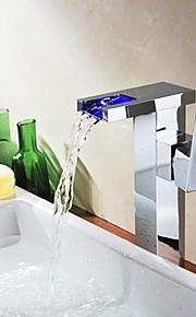 Single Handle farveskiftende LED Waterfall Bathroom Sink hane (Tall)-krom finish