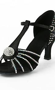 Non Customizable Women's Dance Shoes Performance/Latin/Salsa Satin Flared Heel Black