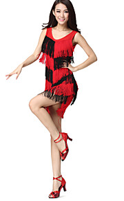 Prestatie Danskleding Spandex en Chinlon met kwastjes Latin Dance Dress For Ladies meer kleuren