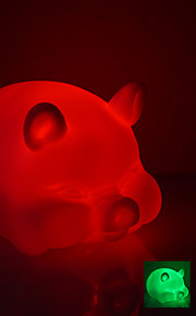 Fat Pig Shaped fargerike LED Night Light (3xAG13)