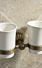 Simple Round Style Antique Brass Double Tumbler Toothbrush Holder