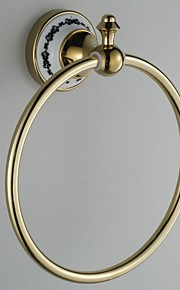 Céramique Wall Mount Golden Rings serviettes Ti-PVD
