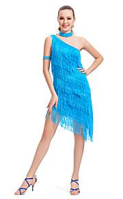dancewear polyester een schouder met kwastjes prestaties latin dans jurk voor dames meer kleuren