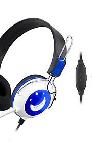 Stereo Hi-Fi 3.5mm on-ear hoofdtelefoon met microfoon en afstandsbediening CY-714 (paars, blauw)