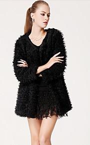 TS Einfachheit Schafswolle Long Sleeves Schwarz Oberbekleidung