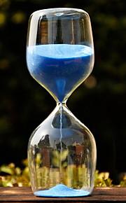 Table maîtresses sablier de verre avec du sable bleu deocrations de table