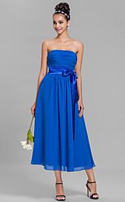Lanting Bride Tea-length Chiffon Bridesmaid Dress A-line Strapless Plus Size / Petite with Sash / Ribbon / Ruching