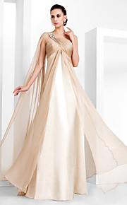 Soirée Formel Bal Militaire Robe - Inspiration Vintage Elégant Fourreau / Colonne Une Epaule Longueur Sol Mousseline de soie avecBilles