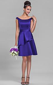 Knee-length Satin Bridesmaid Dress-Plus Size / Petite A-line Off-the-shoulder