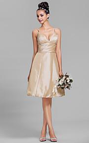 Lanting Bride Knee-length Taffeta Bridesmaid Dress A-line Spaghetti Straps Plus Size / Petite with Side Draping / Ruching