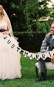 """結婚式の装飾が施され、「ちょうど結婚 """"バナー - 11個のセット"""