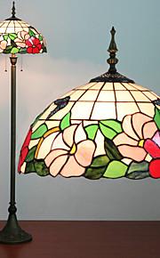 꽃 패턴 플로어 램프, 2 개의 빛, 티파니 수지 유리 회화 과정