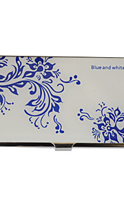 Personalized Blue-White Flower Pattern Engraved Business Card Holder