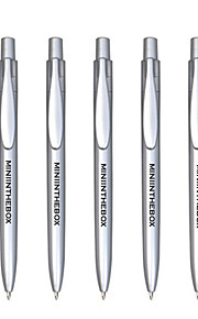 Personalized Promotional Gift Blue Ink Silver Automatic Ballpoint Pen (Set of 50)
