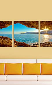 ensemble de 3 paysage mer dans le lever du soleil de toile toiles tendues prêt à accrocher