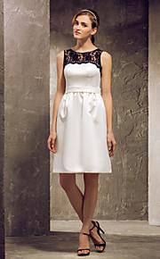 Knee-length Satin/Lace Bridesmaid Dress - Ivory Apple/Hourglass/Inverted Triangle/Pear/Rectangle/Plus Sizes/Petite/Misses Sheath/Column