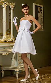 Lanting una línea / princesa tallas grandes vestido de novia - blanco hasta la rodilla sin tirantes de tafetán