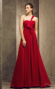 Lanting Floor-length Chiffon Bridesmaid Dress - Burgundy Plus Sizes / Petite Sheath/Column One Shoulder