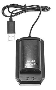 4800mAh Ni-MH genopladelig batteripakke og oplader kabel til Xbox 360 (sort)