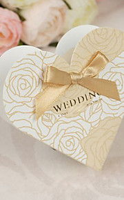 Gold Flower Pattern Heart Shaped Favor Box with Bow - Set of 12