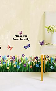 1PCS Colorful Butterflies plus de fleurs plinthe ligne Wall Sticker