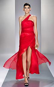 Formal Evening/Prom/Military Ball Dress - Ruby Plus Sizes Sheath/Column One Shoulder Ankle-length Chiffon/Stretch Satin