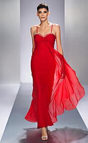 Formal Evening/Prom/Military Ball Dress - Ruby Plus Sizes Sheath/Column Spaghetti Straps Ankle-length Chiffon