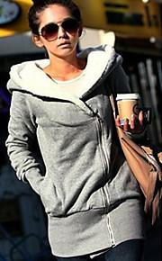 Manteau Femme,Couleur Pleine Décontracté / Quotidien Manches Longues Noir Gris Coton Polyester Epais Toutes les Saisons