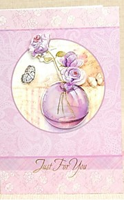 Lilac Flower&Butterfly Design Vertical Side Fold Greeting Card