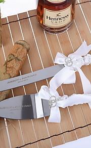 Serving Sets Wedding Cake Knife Personalized  Cake Serving Set with White Satin Ribbon