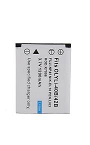 digital video batteri erstatte olympus li-42b/40b for μseries og mere (3,7 V, 1200 mAh)