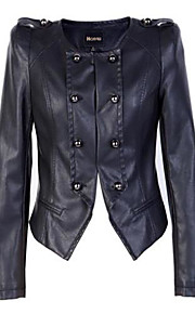 Women's spring new dual-neck Slim short section of small leather jacket