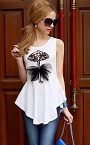 Women's Pink/White T-shirt Sleeveless