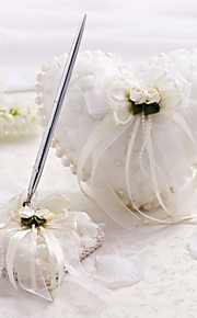 Satin And Tulle Wedding Collection Set With Imitation Pearls And Flowers(2 Pieces)