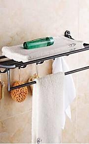 Petróleo friccionada Bronze prateleira do banheiro com barra de toalha