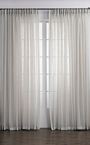 (Two Panels) Neoclassical Elegant White Solid  Eco-friendly Sheer Curtain