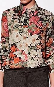 Damen Blumen Einfach Lässig/Alltäglich Hemd,Hemdkragen Frühling / Sommer / Herbst Langarm Mehrfarbig Dünn