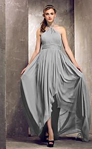 Asymmetrical Chiffon Bridesmaid Dress - Silver Plus Sizes Sheath/Column Halter